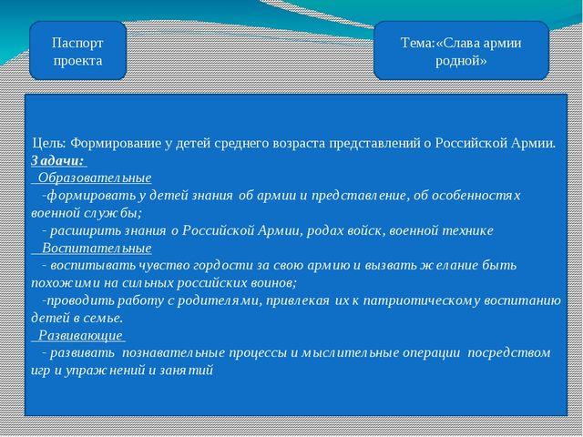 Паспорт проекта Тема:«Слава армии родной» Цель: Формирование у детей среднего...