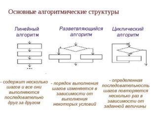 Основные алгоритмические структуры Линейный алгоритм Разветвляющийся алгорит