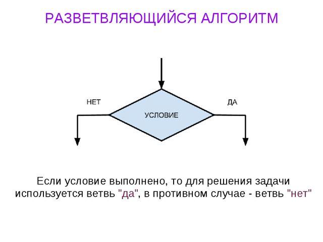 РАЗВЕТВЛЯЮЩИЙСЯ АЛГОРИТМ Если условие выполнено, то для решения задачи исполь...