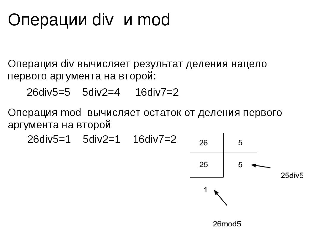 Операции div и mod Операция div вычисляет результат деления нацело первого а...