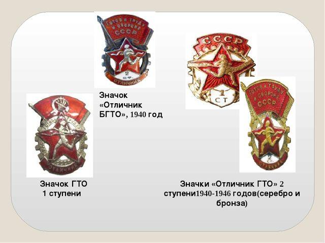 Значок ГТО 1 ступени Значок «Отличник БГТО», 1940 год Значки «Отличник ГТО» 2...