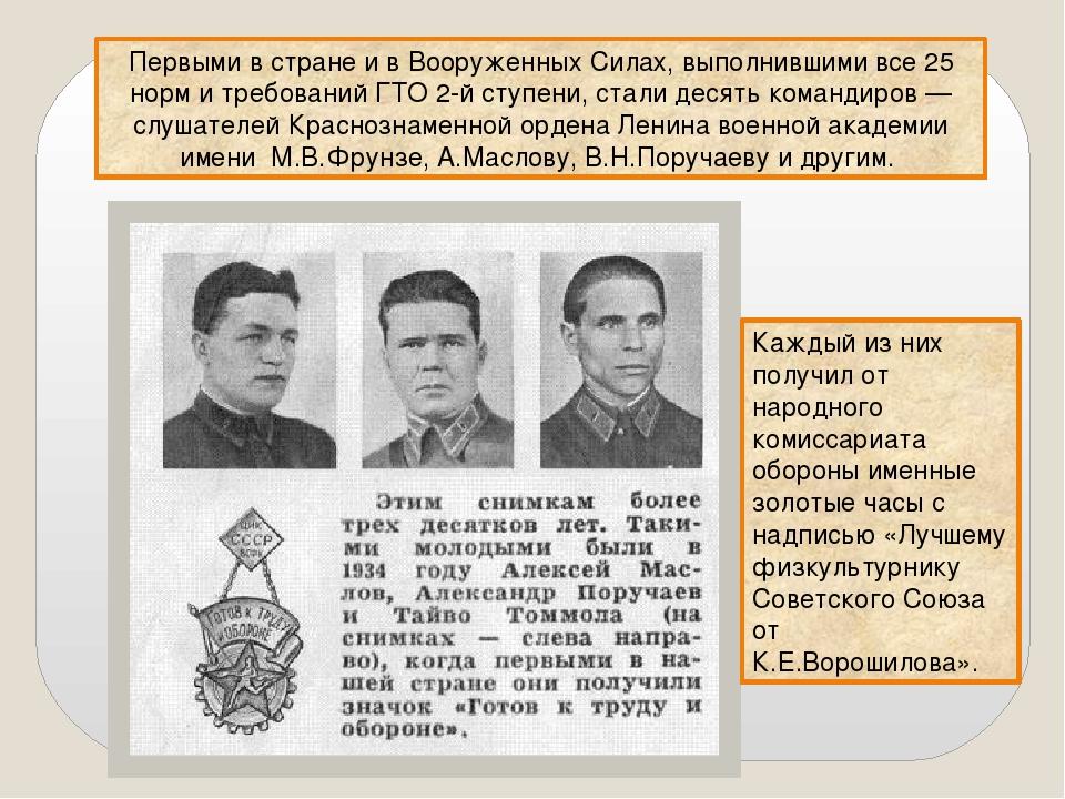 Первыми в стране и в Вооруженных Силах, выполнившими все 25 норм и требований...