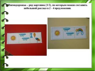 Мнемодорожка – ряд картинок (3-5), по которым можно составить небольшой расск