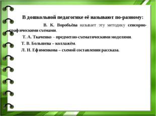 В дошкольной педагогике её называют по-разному: В. К. Воробьёва называет эту