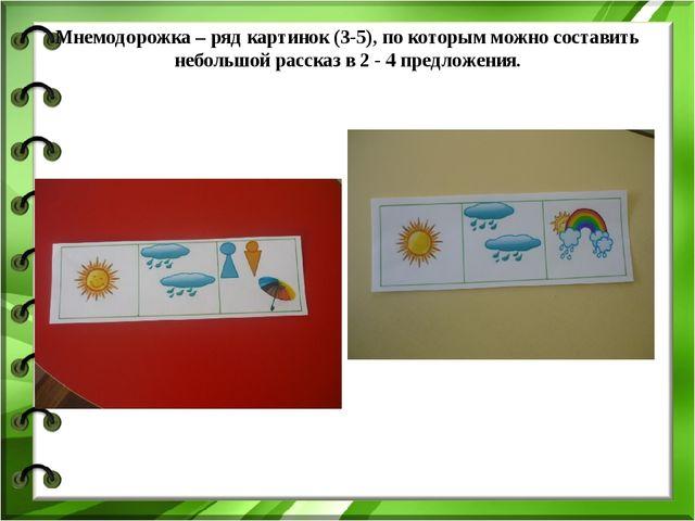 Мнемодорожка – ряд картинок (3-5), по которым можно составить небольшой расск...