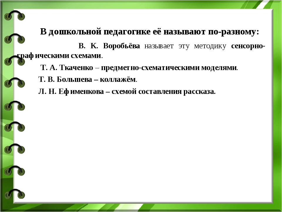 В дошкольной педагогике её называют по-разному: В. К. Воробьёва называет эту...