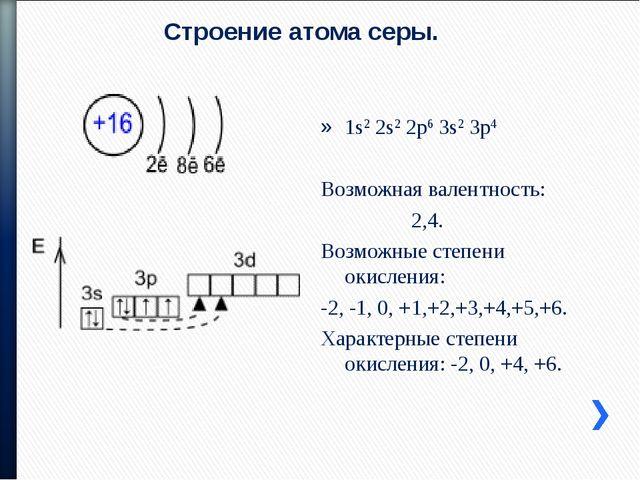 Строение атома серы. 1s2 2s2 2p6 3s2 3p4 Возможная валентность: 2,4. Возможны...