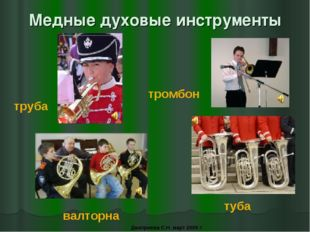 Медные духовые инструменты труба тромбон валторна туба Дмитриева С.Н. март 20