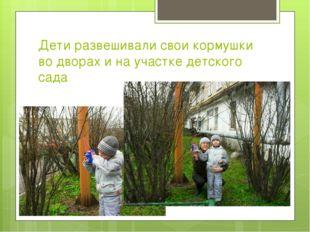 Дети развешивали свои кормушки во дворах и на участке детского сада