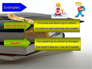 Examples: You needn't go to school on Sundays You needn't help me. I can do i