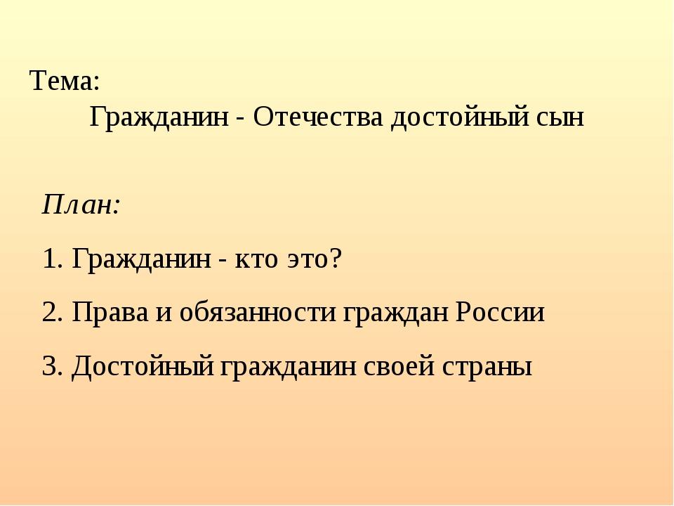 Тема: Гражданин - Отечества достойный сын План: 1. Гражданин - кто это? 2. Пр...