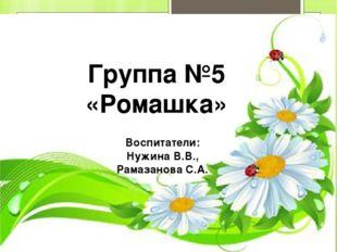Группа №5 «Ромашка» Воспитатели: Нужина В.В., Рамазанова С.А.