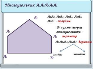 А1 А2 А3 А4 А5 Многоугольник А1А2А3А4А5 А1А2, А2А3, А3А4, А4А5, А5А1 - сторон