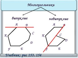 Многоугольники выпуклые невыпуклые А В С D Е F К А В С D Е F К Учебник: рис 1