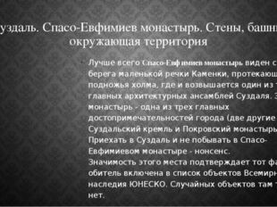 Суздаль. Спасо-Евфимиев монастырь. Стены, башни, окружающая территория Лучше