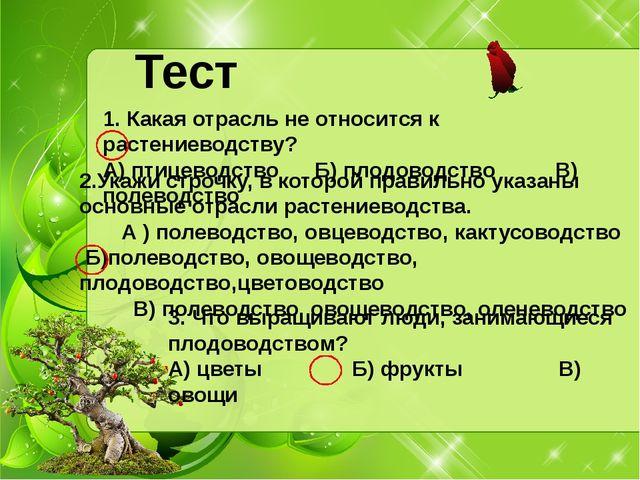 Тест 1. Какая отрасль не относится к растениеводству? А) птицеводство Б) плод...