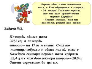 Задача №3. Площадь одного поля 207,5 га, а площадь второго – на 17 га меньше