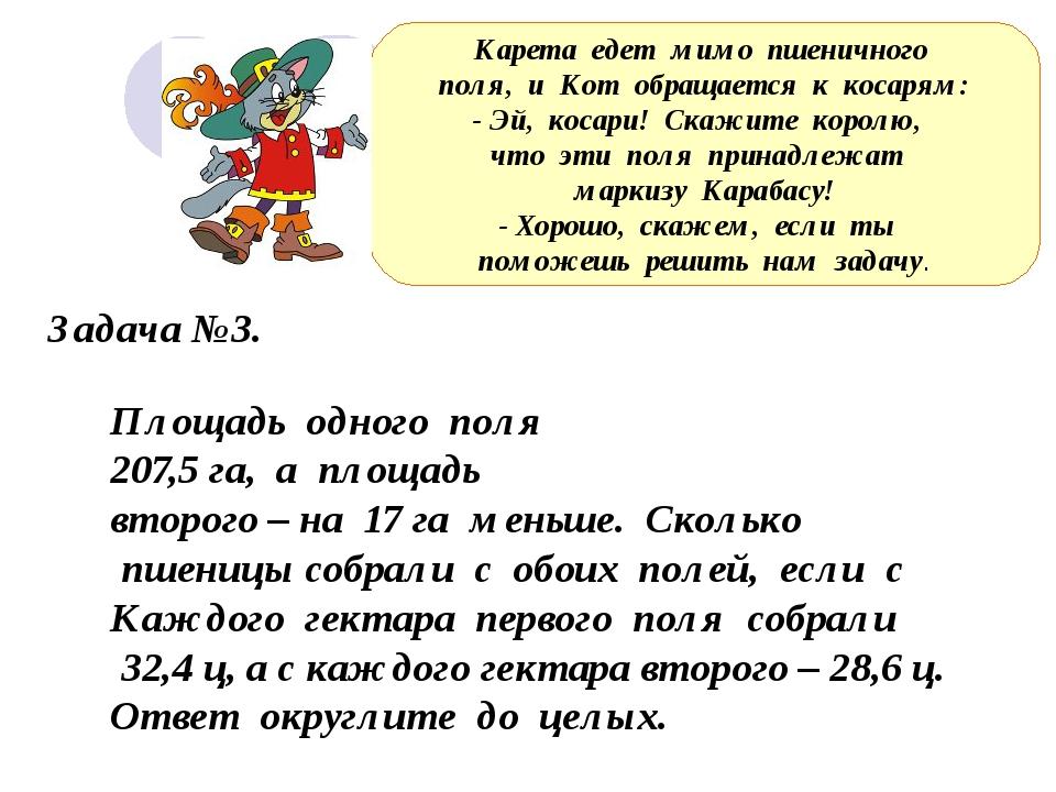 Задача №3. Площадь одного поля 207,5 га, а площадь второго – на 17 га меньше...