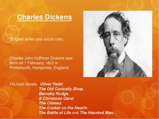 Charles Dickens English writer and social critic. Charles John Huffman Dicken