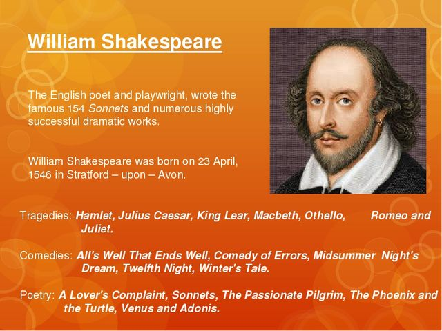 William Shakespeare The English poet and playwright, wrote the famous 154 Son...
