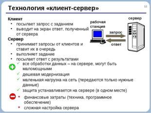 * Технология «клиент-сервер» Клиент посылает запрос с заданием выводит на экр