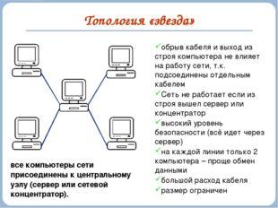 Топология «звезда» обрыв кабеля и выход из строя компьютера не влияет на рабо