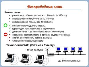 Беспроводные сети Каналы связи: радиосвязь, обычно до 100 м (11 Мбит/c, 54 Мб