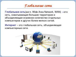 Глобальные сети Глобальная сеть(англ. Wide Area Network, WAN) –это сеть, охва
