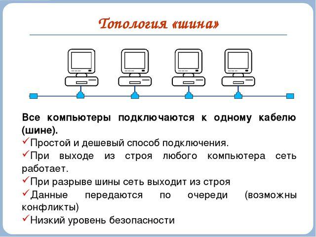 Топология «шина» Все компьютеры подключаются к одному кабелю (шине). Простой...