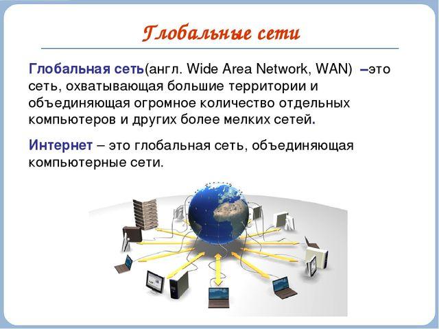 Глобальные сети Глобальная сеть(англ. Wide Area Network, WAN) –это сеть, охва...