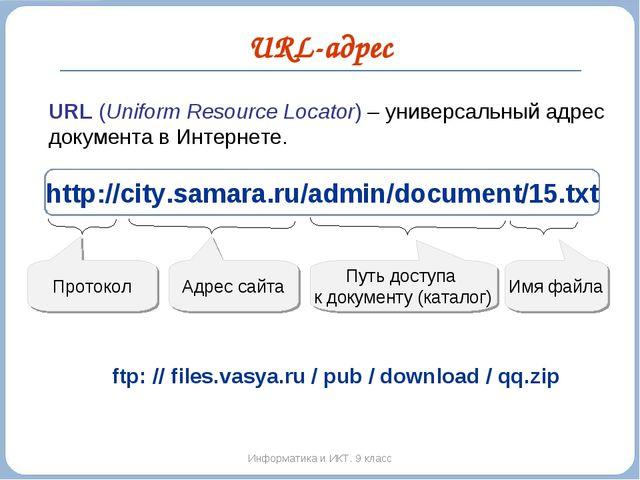 URL-адрес Информатика и ИКТ. 9 класс URL (Uniform Resource Locator) – универс...