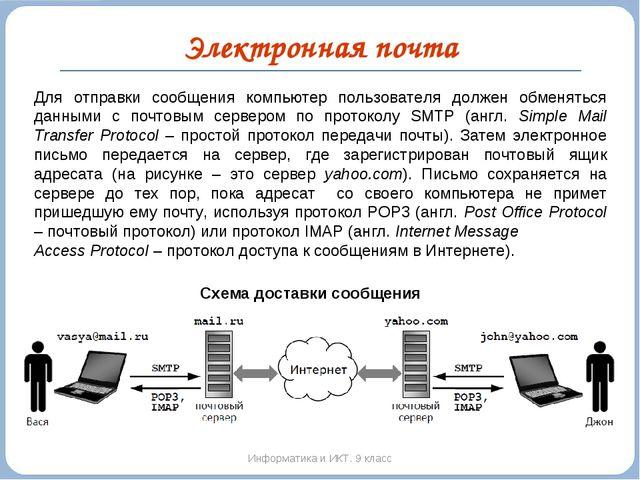 Электронная почта Информатика и ИКТ. 9 класс Схема доставки сообщения Для отп...