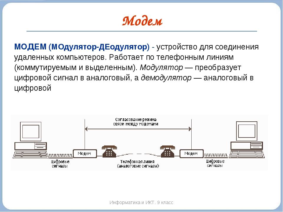 Модем Информатика и ИКТ. 9 класс МОДЕМ (МОдулятор-ДЕодулятор) - устройство дл...