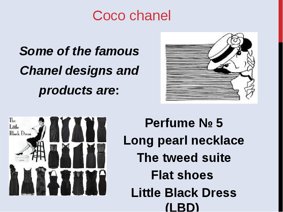 Coco chanel Perfume № 5 Long pearl necklace The tweed suite Flat shoes Little...