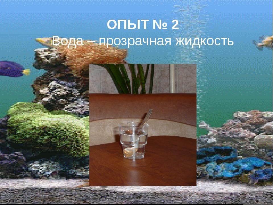 ОПЫТ № 2 Вода – прозрачная жидкость