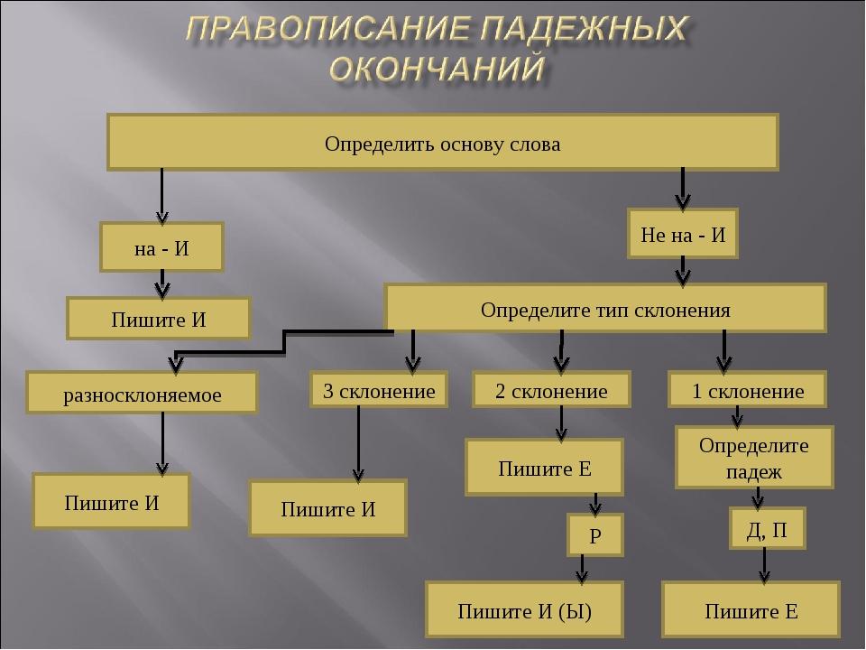 Не на - И Определить основу слова на - И Пишите И Определите тип склонения ра...
