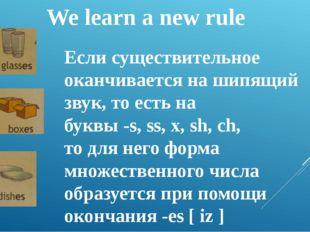 We learn a new rule Если существительное оканчивается на шипящий звук, то ест