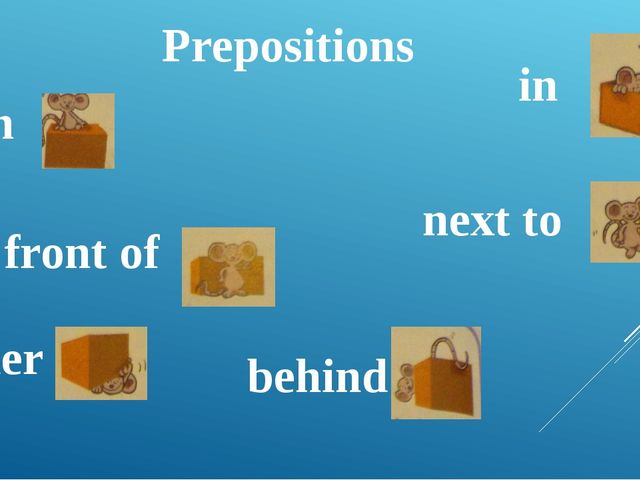 on 					 in under next to in front of behind Prepositions