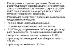 """Реализуемая в отрасли программа """"Развитие и реструктуризация лесопромышленног"""