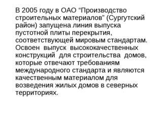 """В 2005 году в ОАО """"Производство строительных материалов"""" (Сургутский район)"""