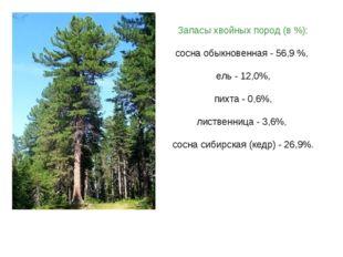 Запасы хвойных пород (в %): сосна обыкновенная - 56,9 %, ель - 12,0%, пихта -