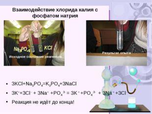 Взаимодействие хлорида калия с фосфатом натрия 3KCl+Na3PO4=K3PO4+3NaCl 3K++3C
