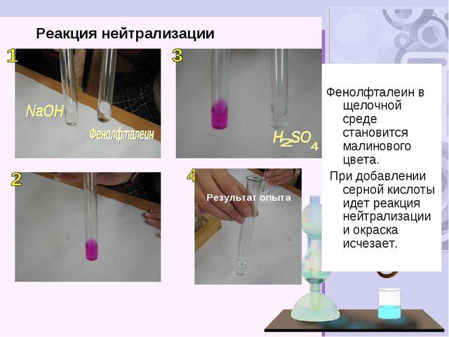 Реакция нейтрализации Результат опыта Фенолфталеин в щелочной среде становитс...