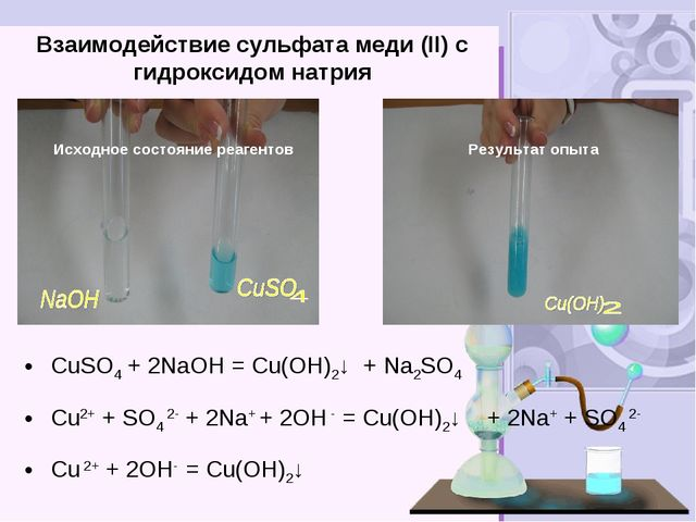 Взаимодействие сульфата меди (II) с гидроксидом натрия CuSO4 + 2NаOH = Cu(OH)...