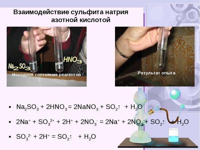 Взаимодействие сульфита натрия азотной кислотой Nа2SO3 + 2HNO3 = 2NаNO3 + SO...
