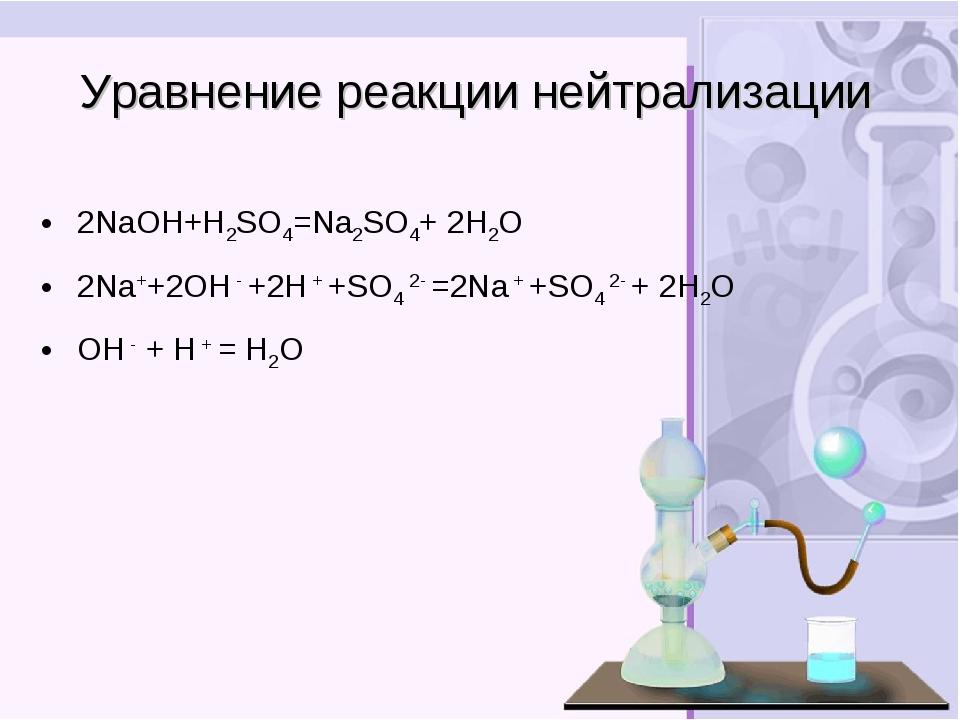 Уравнение реакции нейтрализации 2NaOH+H2SO4=Na2SO4+ 2H2О 2Na++2OH - +2H + +SO...
