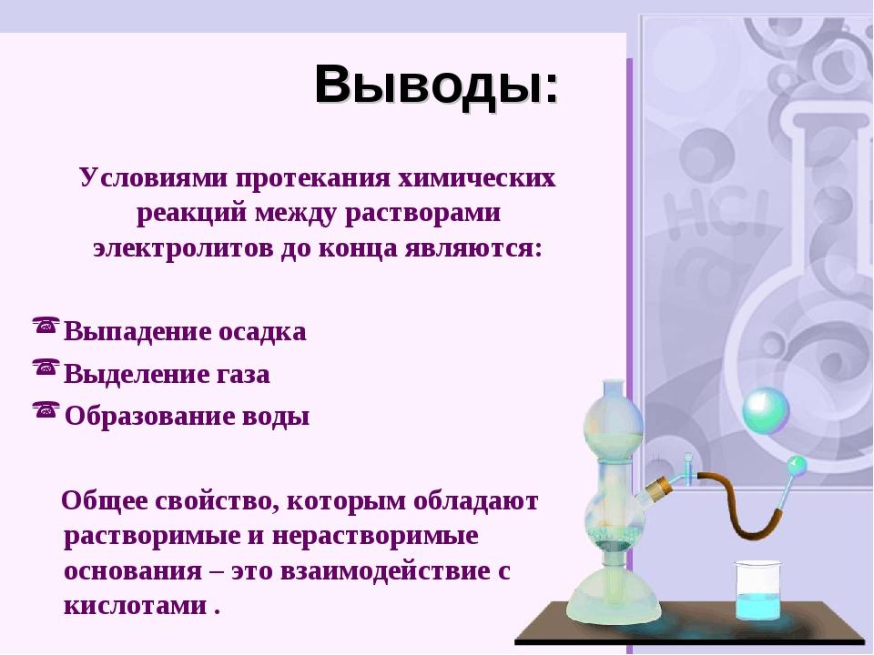 Выводы: Условиями протекания химических реакций между растворами электролитов...