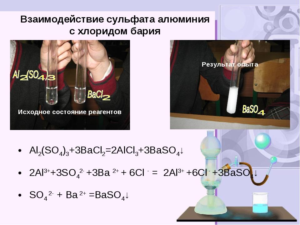 Взаимодействие сульфата алюминия с хлоридом бария Исходное состояние реагенто...