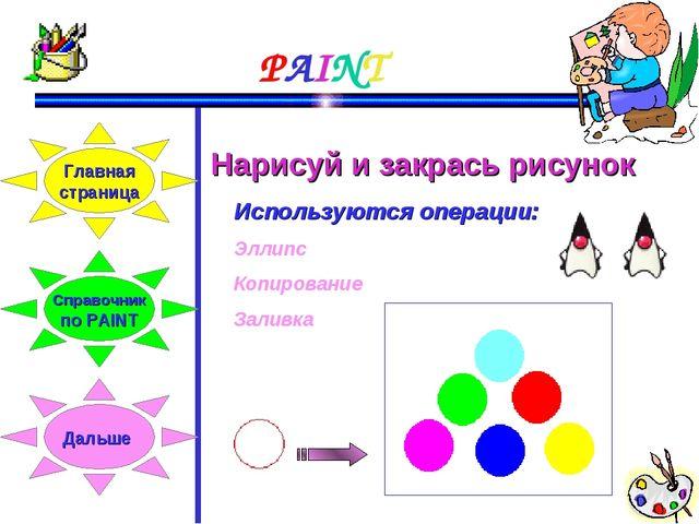 PAINT Нарисуй и закрась рисунок Используются операции: Эллипс Копирование Зал...