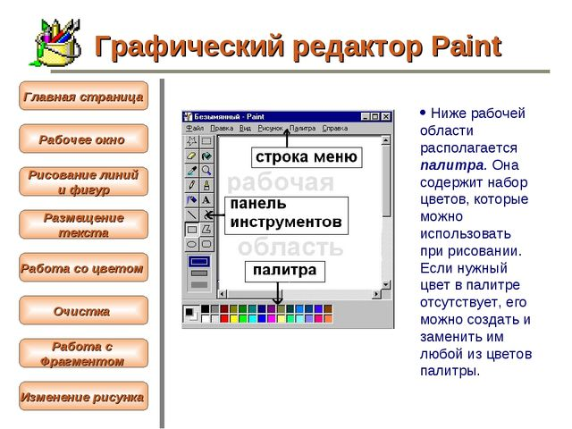 ·Ниже рабочей области располагается палитра. Она содержит набор цветов, кото...